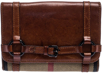 Burberry Brown/Beige House Check Canvas and Leather Buckle Flap Wallet