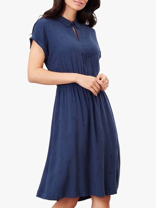 Joules Etty Broderie Knee Length Dress, Navy