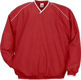 Badger Men's Piped Microfiber Windshirt, Red/White