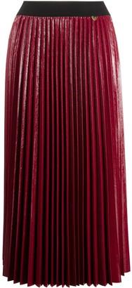 Twin-Set Wet-Look Pleated Midi Skirt
