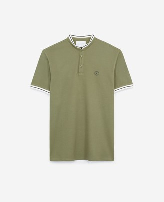 The Kooples Khaki cotton polo shirt with stand-up collar