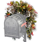 NATIONAL TREE CO National Tree Company 3' Wintery Pine Collection Mailbox Swag with Battery-Operated LED Lights