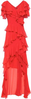 Badgley Mischka Asymmetric Ruffled Georgette Gown