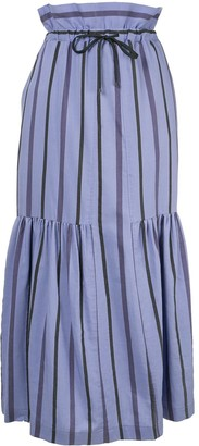 Ujoh Striped High Waisted Skirt