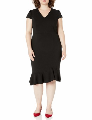Betsey Johnson Women's Plus Size V Neck Dress with Ruffled Hem