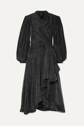 PatBO Ruffled Stretch-jersey Wrap Dress - Black
