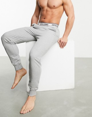 Jack and Jones lounge jersey pants with contrast waistband in grey