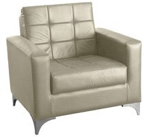 """17 Stories Nordquist 32.76"""" W Faux Leather Armchair Fabric: Beige Faux Leather"""