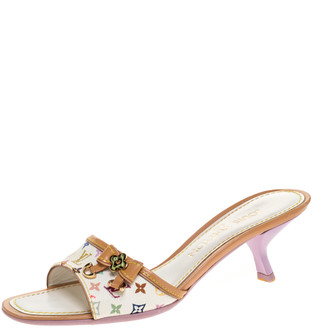 Louis Vuitton Multicolor Monogram Canvas and Leather Slide Sandals Size 36