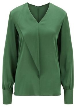 HUGO BOSS Relaxed-fit blouse in silk-blend crepe de Chine