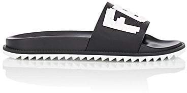 Fendi Men's Logo Slide Sandals - Black