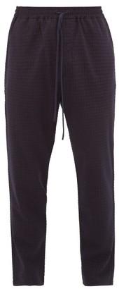 Barena Checked Wool-blend Seersucker Trousers - Navy