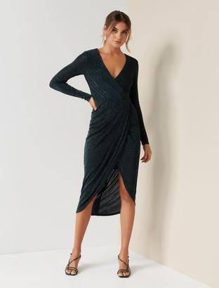 Forever New Allanah Drape Glitter Dress - Sea Moss - 16