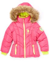U.S. Polo Assn. Fuchsia Faux Fur-Trim Hooded Puffer Coat - Girls