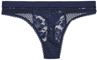 ELSE Petunia Corded Lace And Stretch-mesh Mid-rise Thong