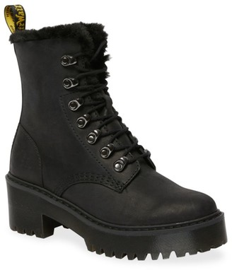 Dr. Martens Leona Faux-Fur Lined Leather Combat Boots
