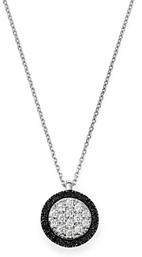 Bloomingdale's Black & White Diamond Circle Pendant Necklace in 14K White Gold, 17 - 100% Exclusive