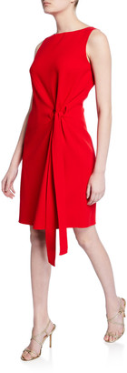 Oscar de la Renta Tie-Front Boat-Neck Dress