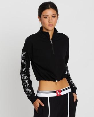 Calvin Klein Logo LS Half Zip Crop