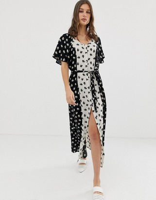 Vero Moda mix print maxi dress-Black