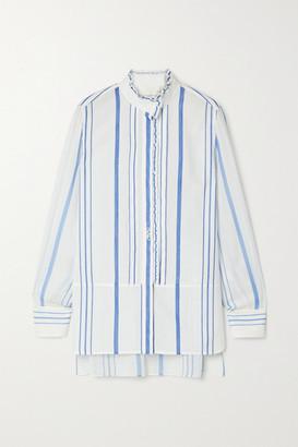 Chloé Ruffled Striped Cotton And Crepe De Chine Shirt - White