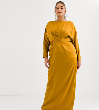 Asos DESIGN Curve maxi dress with batwing sleeve and wrap waist in satin-Yellow