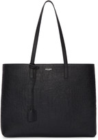 Saint Laurent Black Croc-Embossed Large Shopping Tote Bag