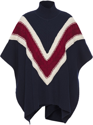 See by Chloe Color-block Cable-knit Wool-blend Poncho