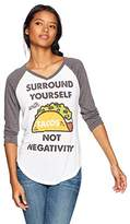 Fifth Sun Junior's Women's Fashion Raglans, White Charcoal Heather//Tacos Not Negativity
