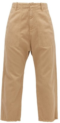 Nili Lotan Luna Cropped Cotton-blend Twill Trousers - Beige