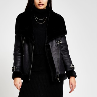 River Island Womens Black shearling faux leather aviator coat