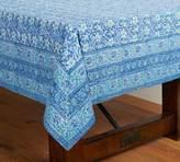 Pottery Barn Block Print Climbing Floral Tablecloth - Blue