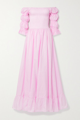 Evarae Lora Off-the-shoulder Fil Coupe Cotton And Silk-blend Maxi Dress - Baby pink