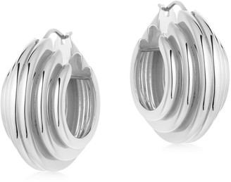 Missoma Lucy Williams Silver Medium Chunky Ridge Hoops