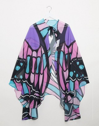 ASOS DESIGN butterfly print cape in pastel colors