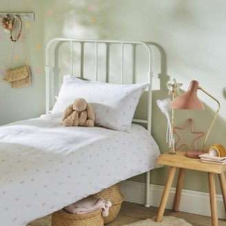 The White Company Reversible Olive Fairy Easy-Care Bed Linen Set, Multi, Cot Bed