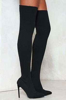 Nasty Gal Womens Hidden Talent Thigh-High Boot - Black - 3