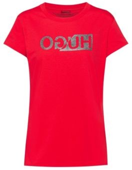 HUGO BOSS Slim Fit T Shirt With Glitter Print Reversed Logo - Red