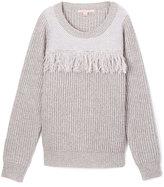 Celebrity Pink Charcoal Gray Fringe Sweater - Girls