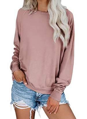 Actloe Women Crewneck Long Sleeve Solid Top Casual Sweatshirt Pullovers