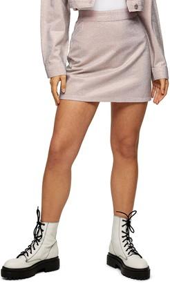 Topshop Shimmer Denim Miniskirt