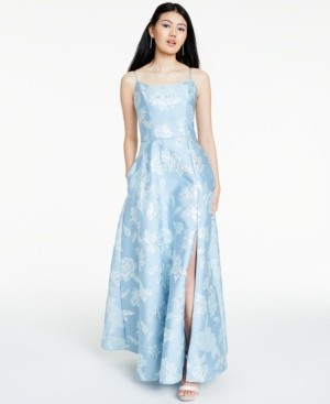 Night Way Nightway Floral Brocade Gown