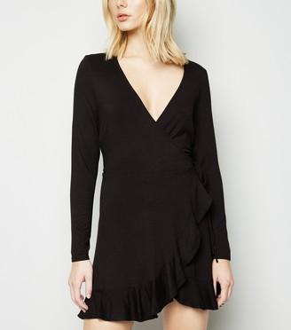 New Look Ruffle Trim Mini Jersey Wrap Dress