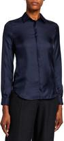 Agnona Silk Twill Button-Front Blouse
