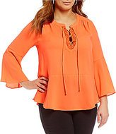 Gibson & Latimer Plus Lace-Up Front Bell Sleeve Blouse