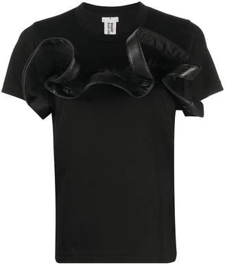 Comme des Garcons faux leather-appliqué cotton T-shirt
