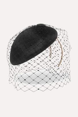 Philip Treacy Swarovski Crystal-embellished Mesh And Buntal Fascinator - Black