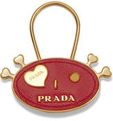 Prada Embellished Textured-leather Keychain - one size
