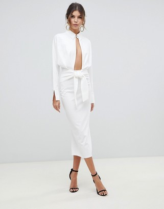 Asos Design DESIGN long sleeve wrap shirt midi dress-White