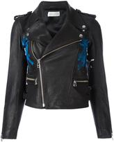 Faith Connexion hand-painted flag biker jacket - women - Calf Leather/Acetate - 38